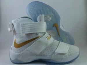 Sepatu Basket Lebron Soldier 10 White Gold